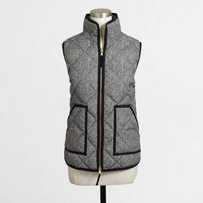 J. Crew Factory Novelty Quilted Puffer Vest (Black)