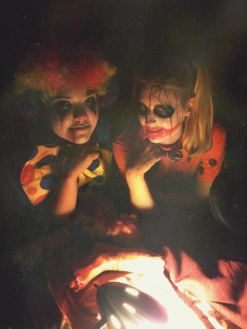 This is my friend Jennie and I dressed up as cannibal clowns. I went a little crazy with the blood, but hey! It was Halloween.